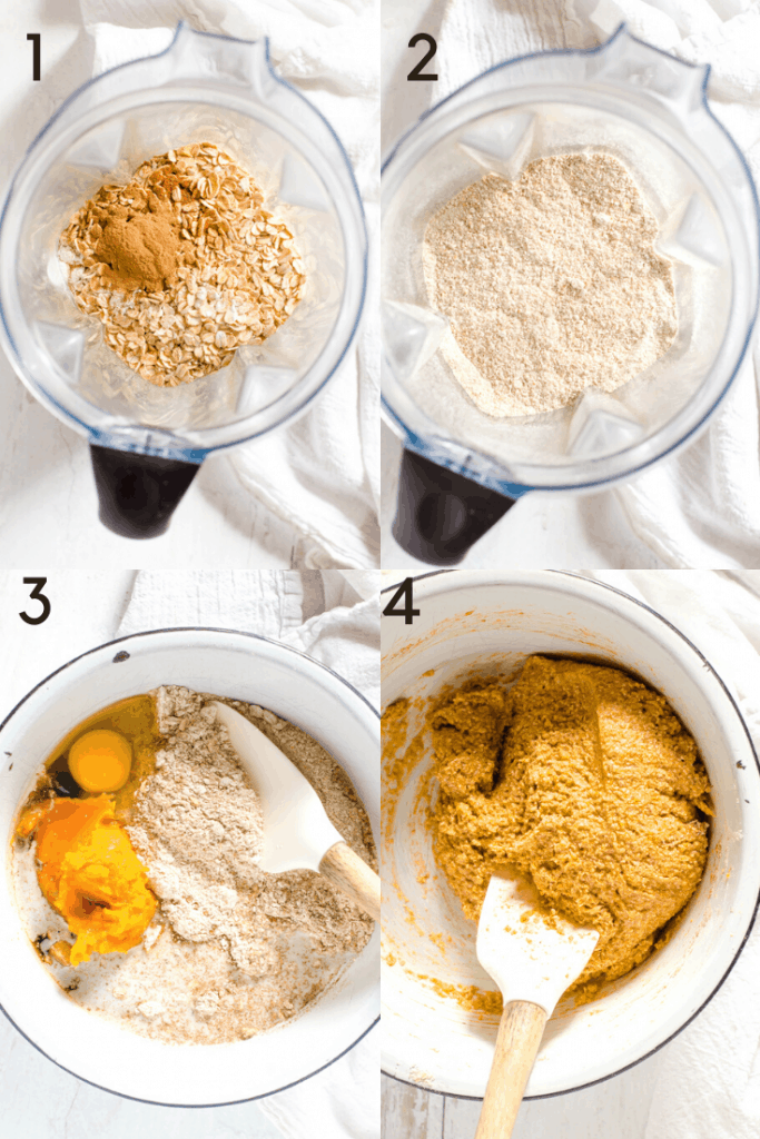 A 4 step process shot of how to make sweet potato cookies.