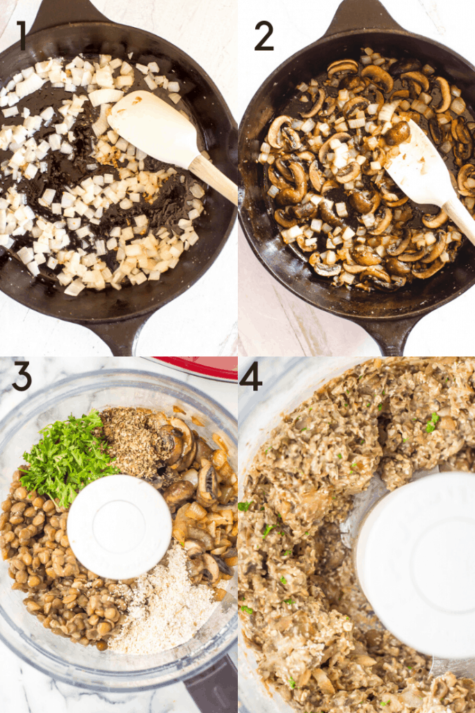 A 4 step process of how to make mushroom lentil meatballs. The first two images show mushrooms and onions being cooked in a cast iron skillet. The last two images show the ingredients for the meatballs, including the the mushrooms and onions, in the food processor before and after mixing.