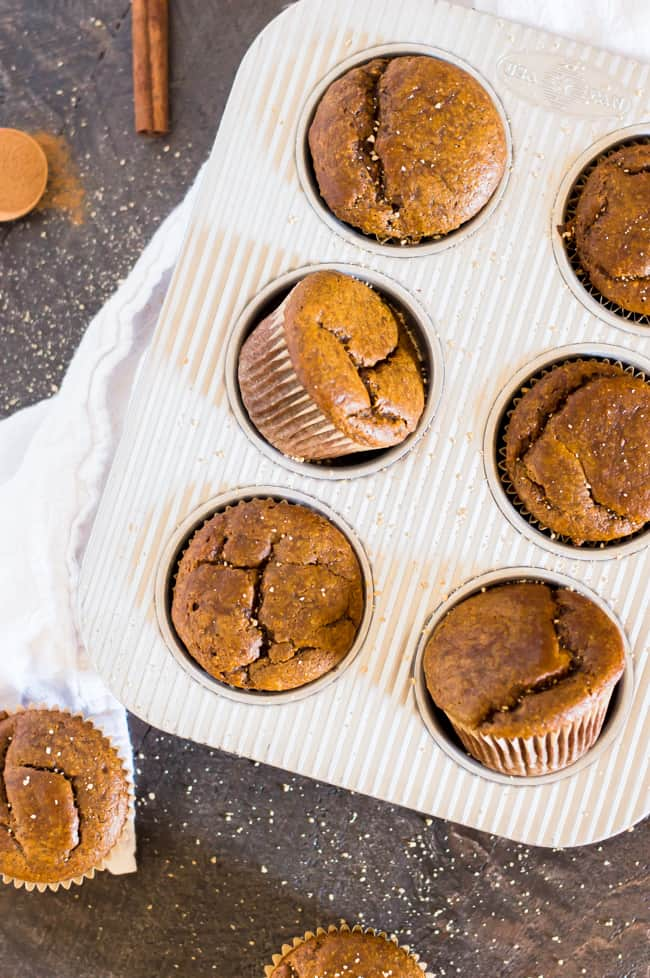 Gingerbread muffins fresh from the oven, still in their muffin tin.