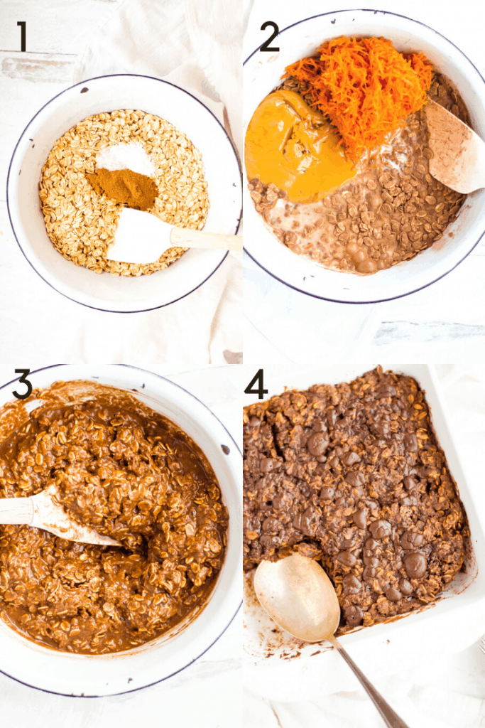 A series of 4 images showing the process of making chocolate baked oatmeal. The first image shows the dry ingredients in a bowl with a spoon. The second shows the addition of the wet ingredients. The 3rd image shows everything mixed together. The final image shows the final baked product in the baking dish with a spoon taking a scoop out.
