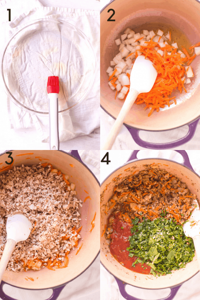 A 4-image graphic showing how to make the sauce for veggie-loaded spaghetti pie