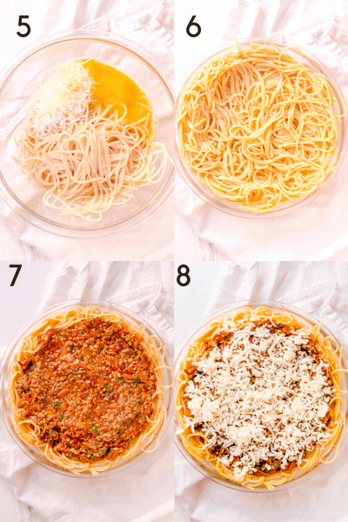 """a 4-image graphic showing how to make the spaghetti """"crust"""" for spaghetti pie and then fill it with the tomato sauce and top with cheese."""