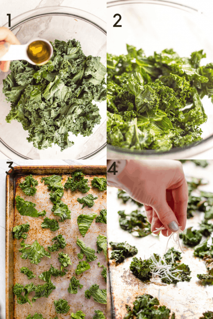 a 4 image graphic showing how to make kale chips