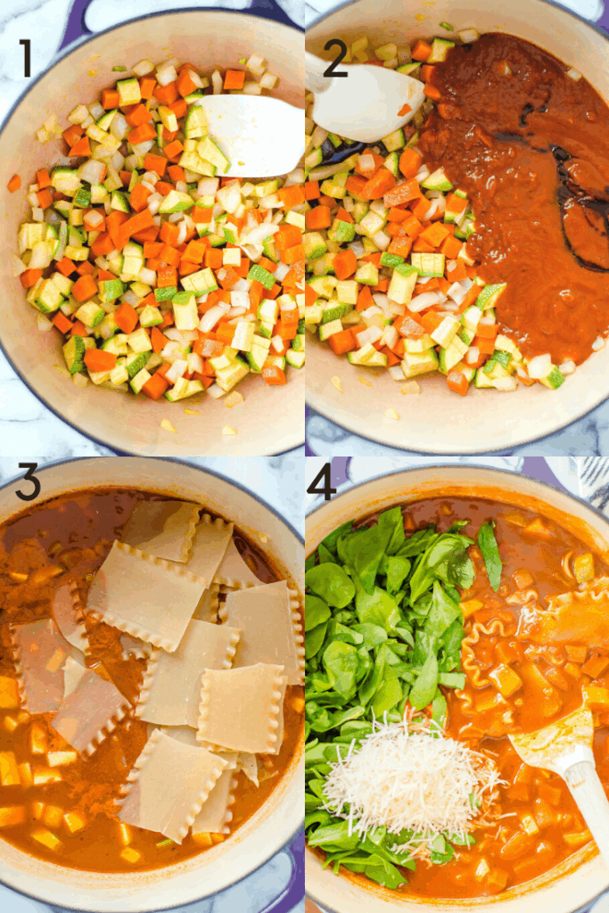 A 4 image graphic of how to make vegetarian lasagna soup.