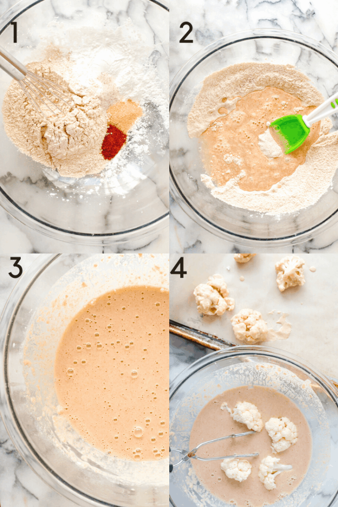 Process shots of how to make breading for cauliflower wings