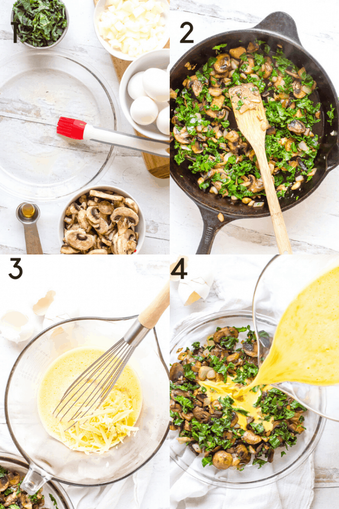 Process shots of how to make mushroom kale frittata