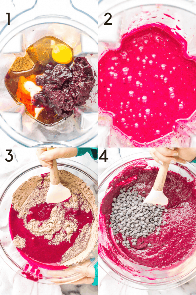 Process shots of how to mix the batter for chocolate beetroot cake.
