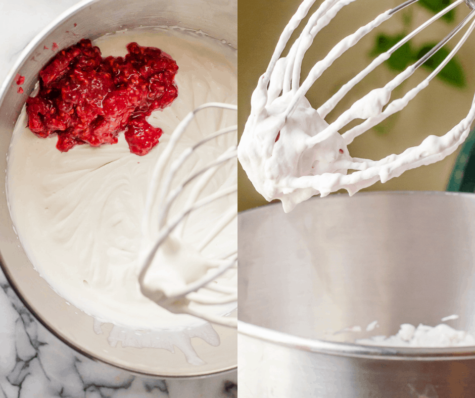 Process shots for making raspberry whipped cream.