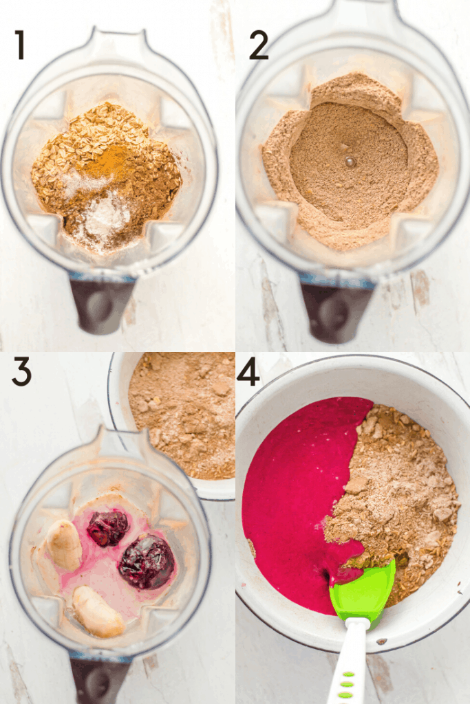 Process shots of how to make natural red velvet pancakes.