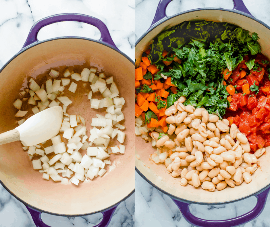 Process shots of how to make kale and white bean soup.