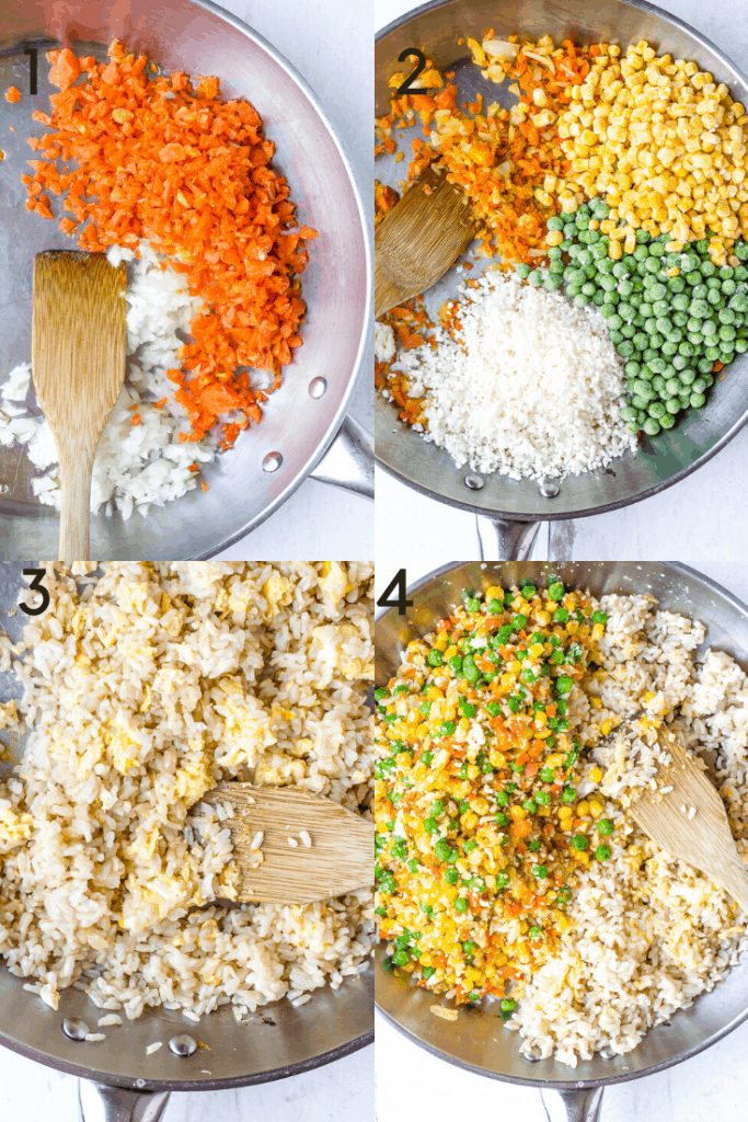 Process shots of how to make veggie fried rice.