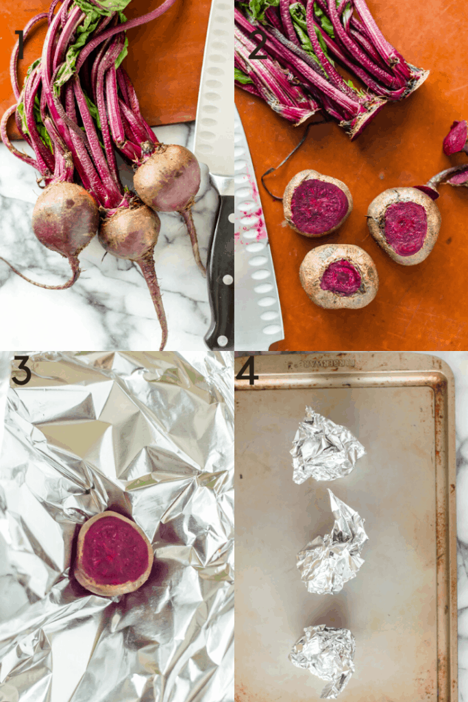Process shots of how to prep a beet for roasting.