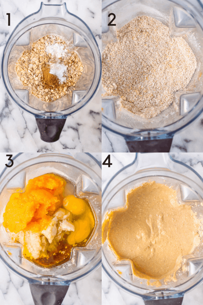 Process shots of how to make the batter for these blender banana muffins.
