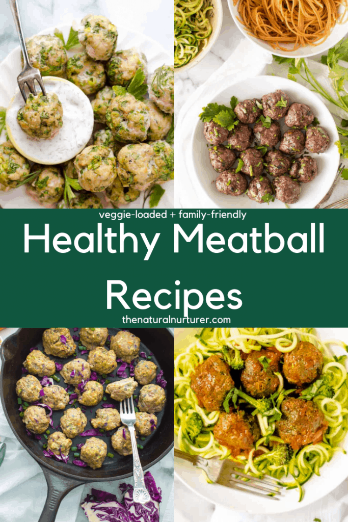 Four image graphic of different healthy meatball recipes included in the post round up