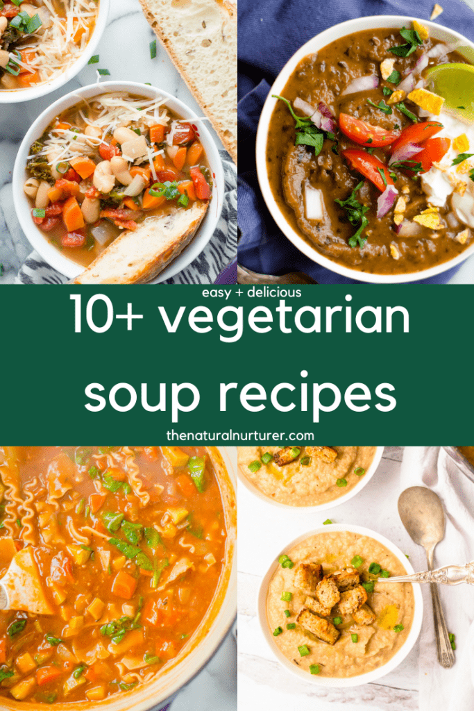 A 4 image serious of different vegetarian soup recipes