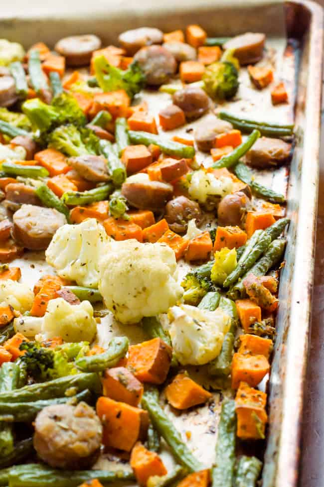 Sheet pan sausage and veggies after coming out of the oven.