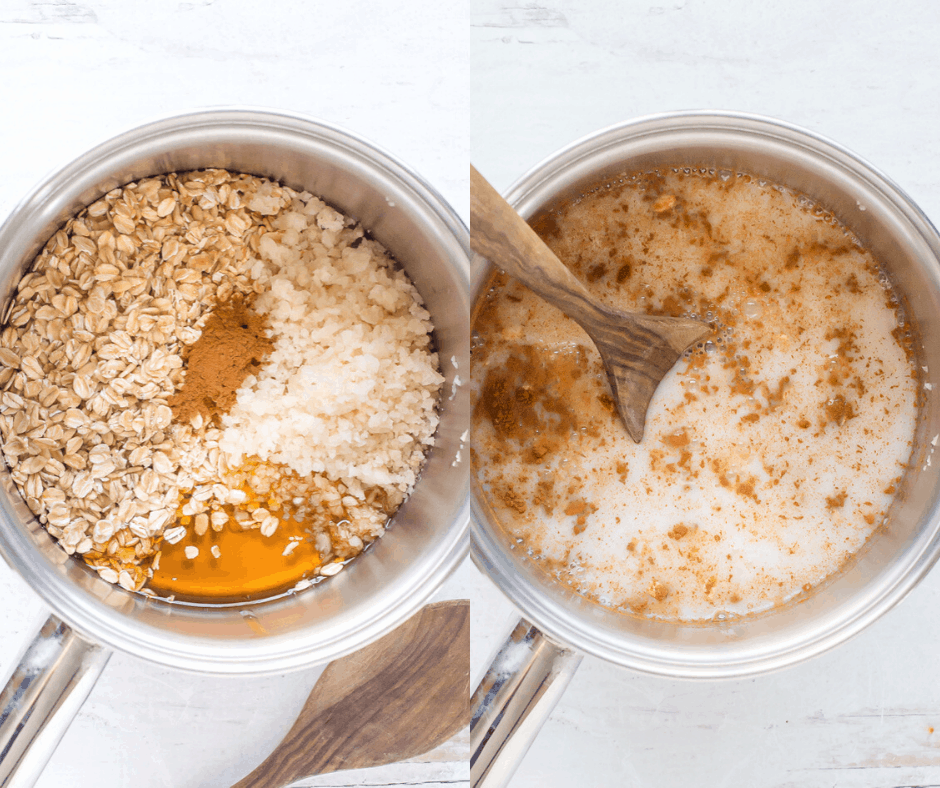 Process shots of how to make cauliflower oatmeal.