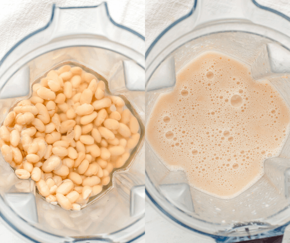 White beans in a blender with water, before and after blending.