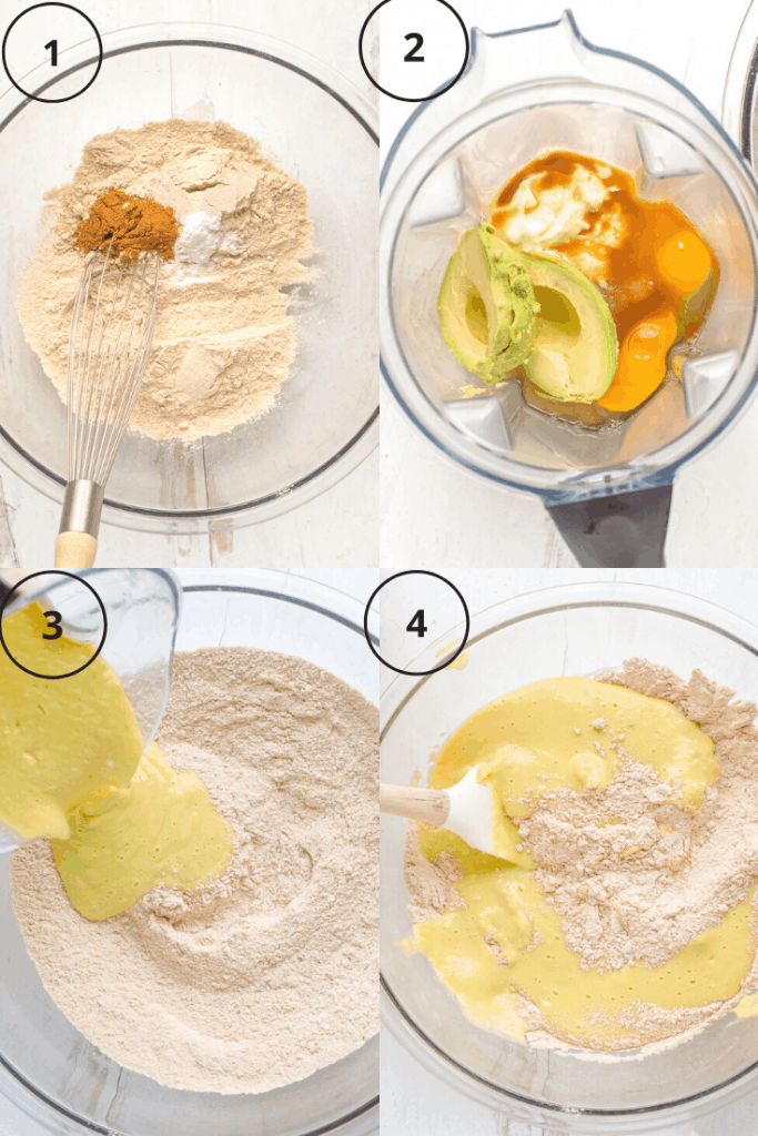 Process shot of how to make the batter for blueberry avocado muffins