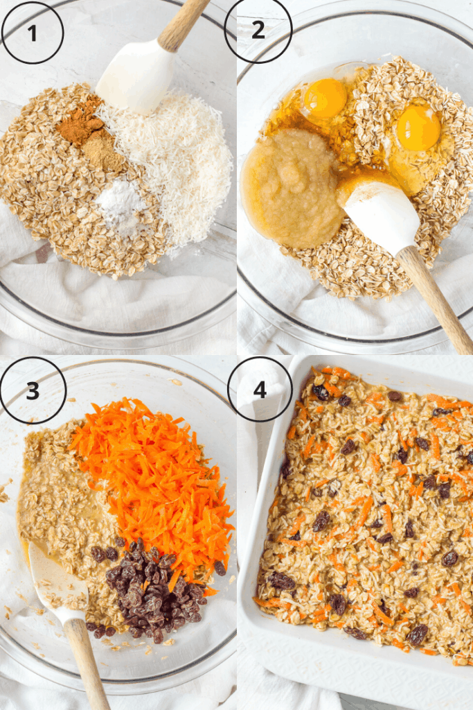 Process shots of how to make baked carrot cake oatmeal