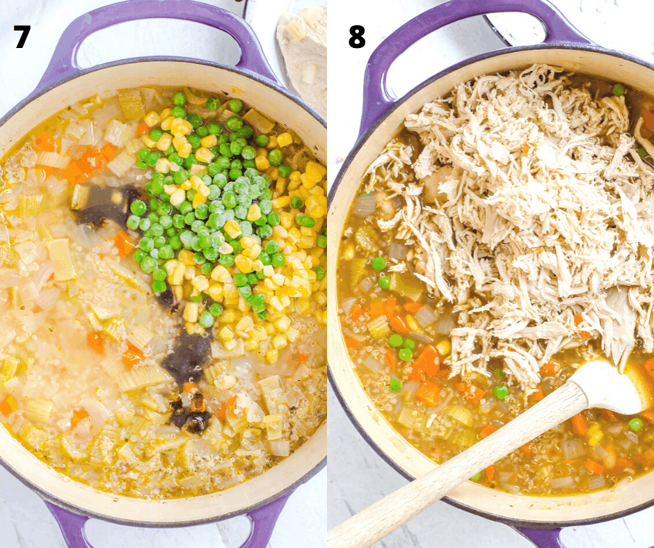 Process shot of how to make vegetable quinoa chicken soup/