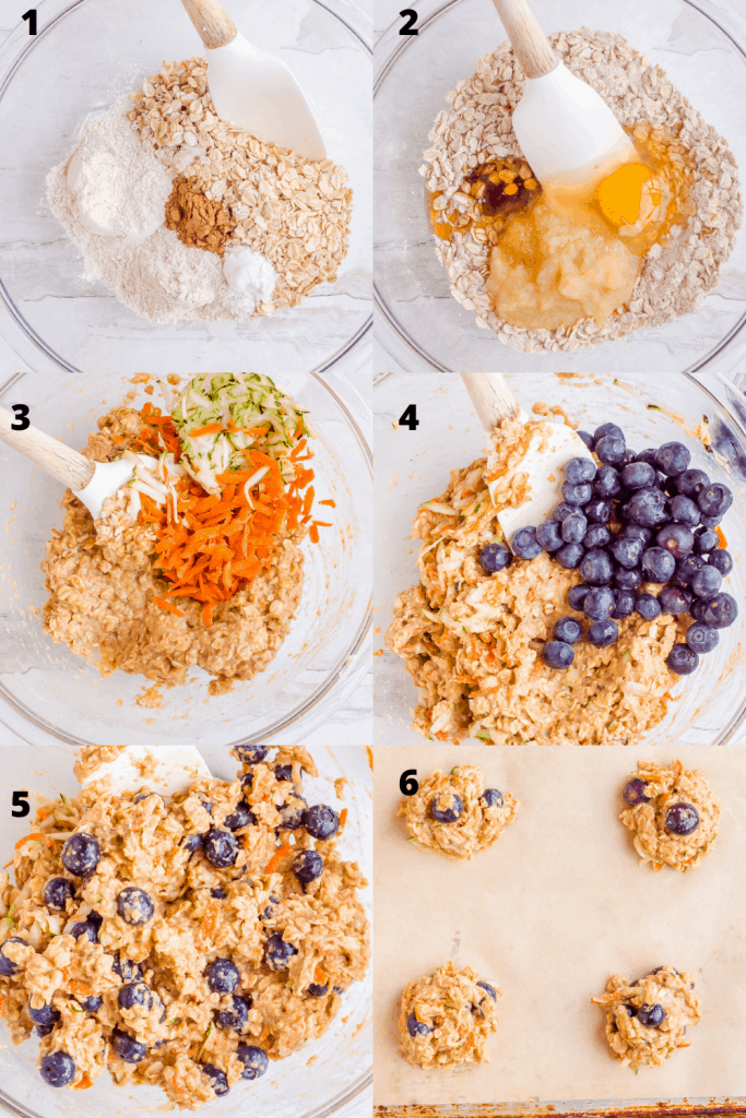 Process shots of how to make veggie-loaded breakfast cookies