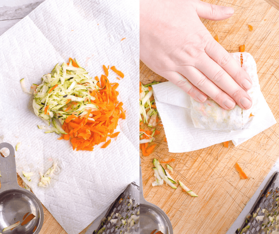 Process shots of how to drain grated zucchini and carrots.