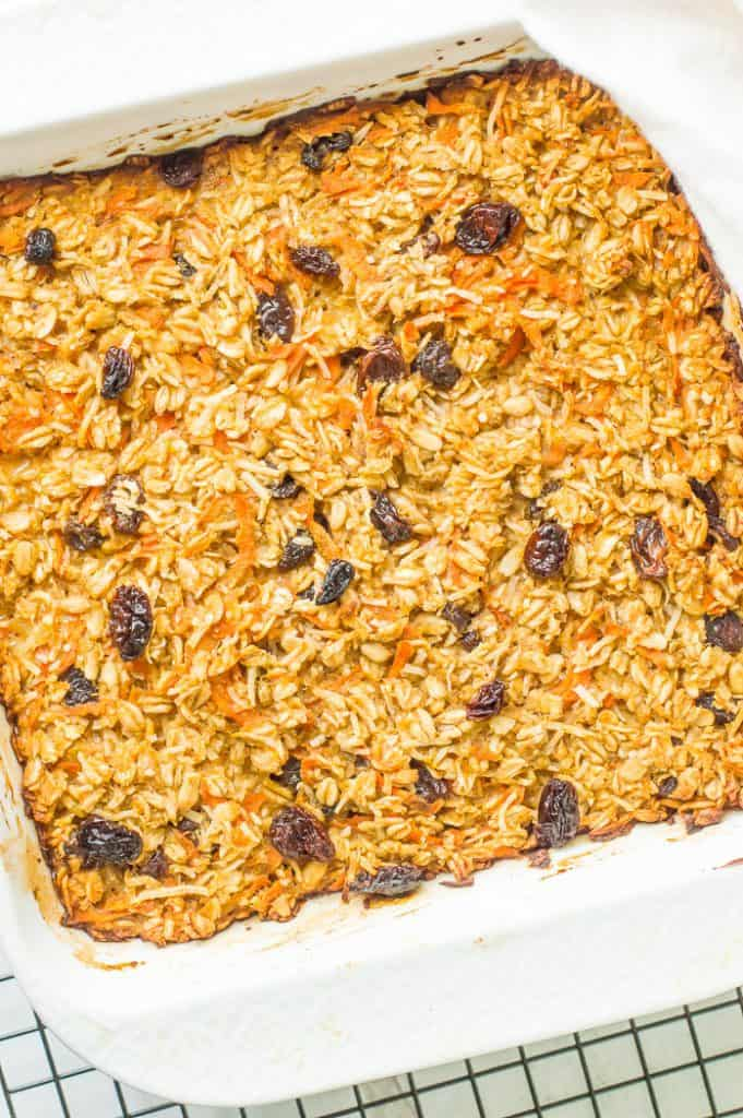 A tray of carrot cake baked oatmeal after baking.