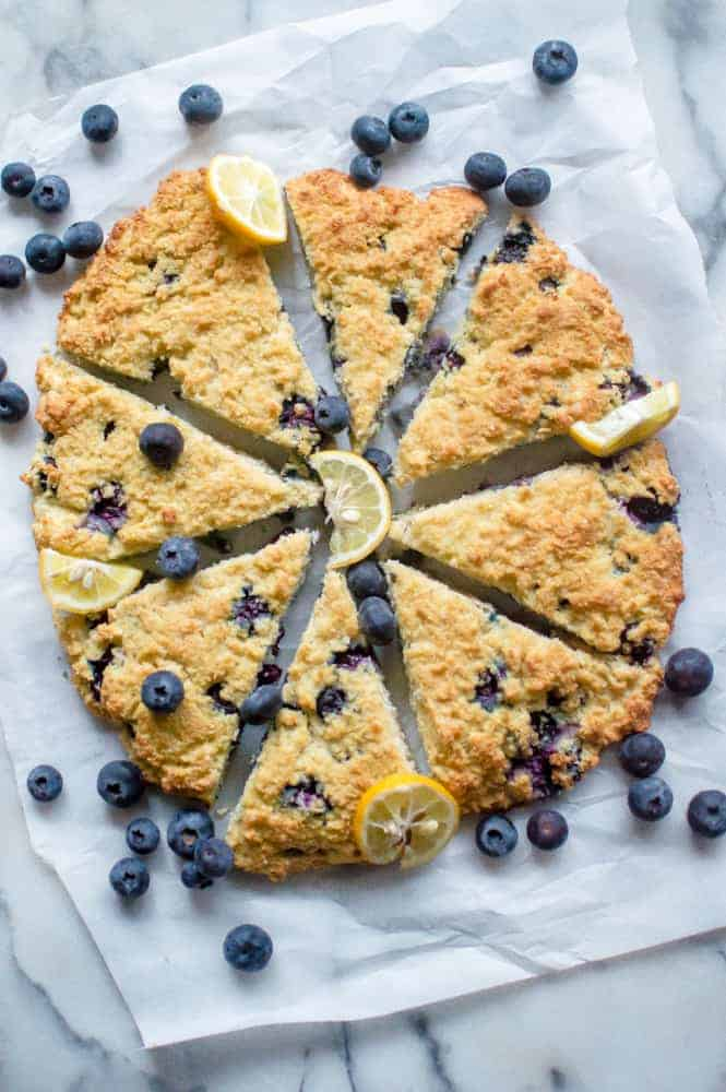 Lemon blueberry scones after baking.