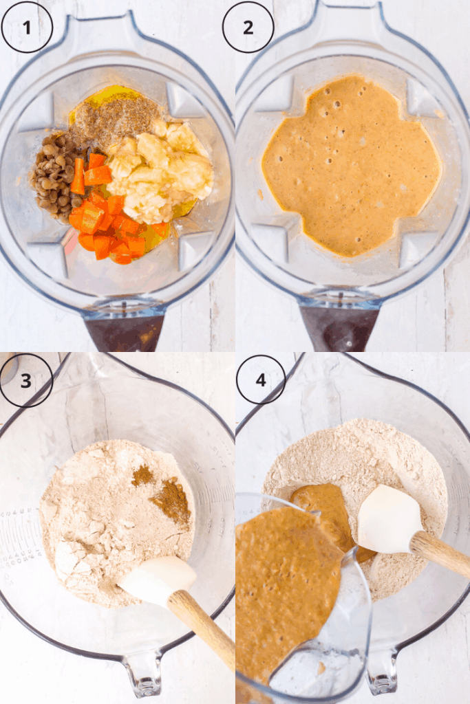 Process shots of how to make the batter for vegan banana proton pancakes