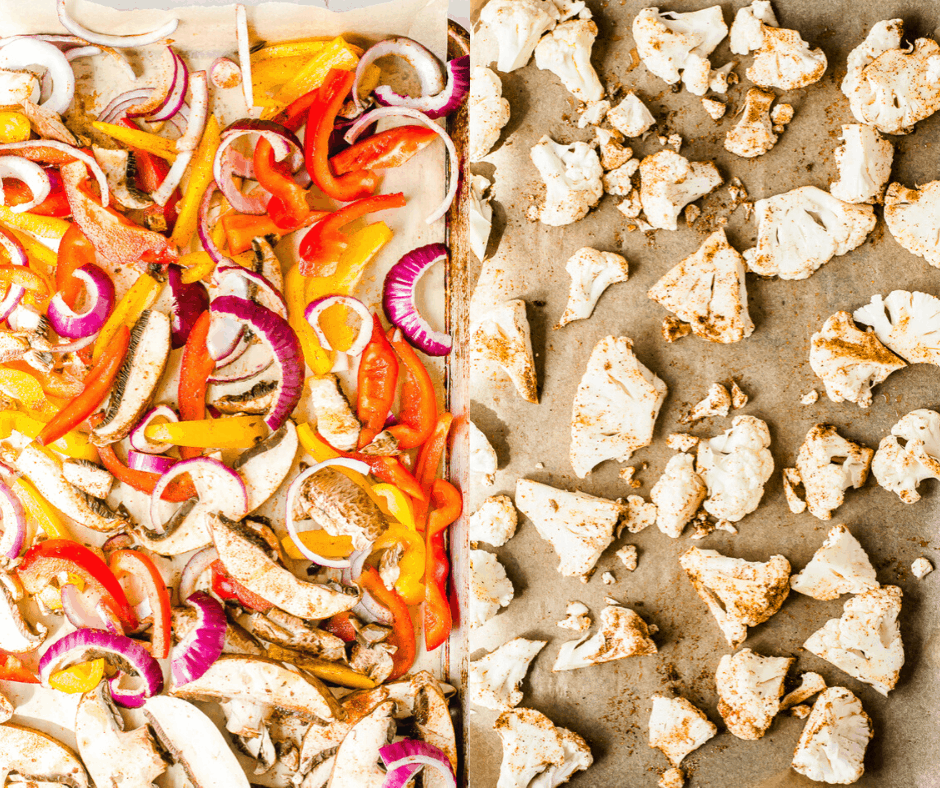 What prepared veggies for the veggie fajitas should look like before cooking.