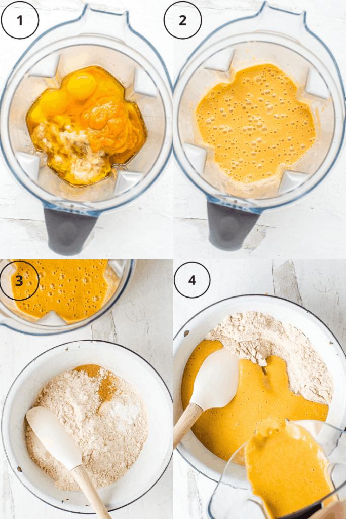 Process shots of how to make sweet potato banana bread.