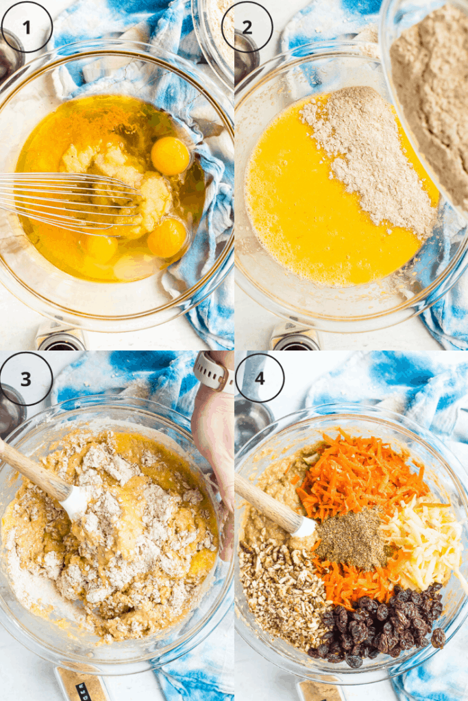 Process shots of how to make the batter for morning glory muffins