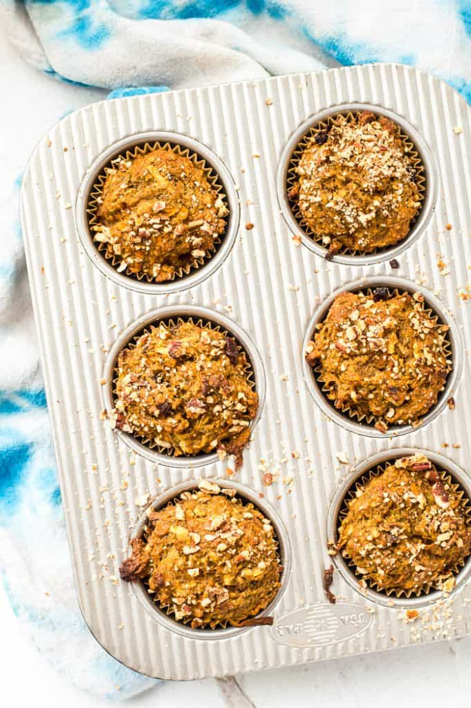 Morning glory muffins in a pan right after baking.