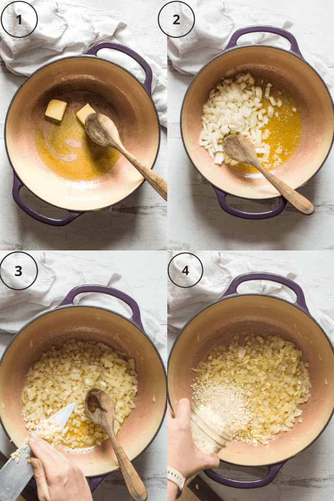 Process shots of how to make asparagus and pea risotto