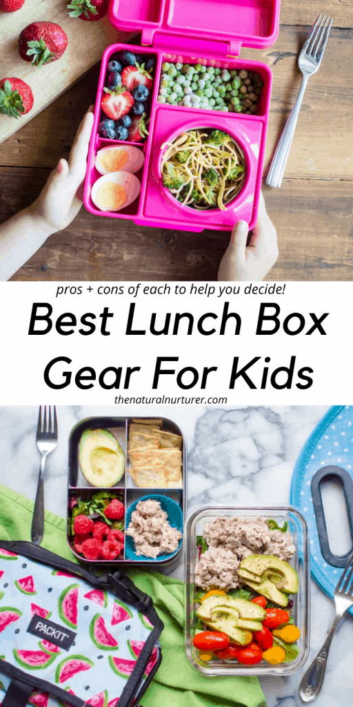 An image of two packed kids lunches with text overlay