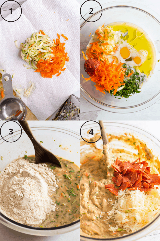 Process shot of how to make the batter for veggie-loaded pizza muffins.