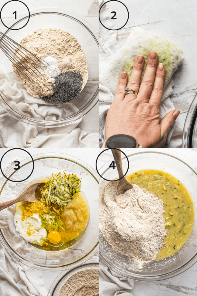 Process images of how to make the batter for these zucchini lemon poppyseed cupcakes