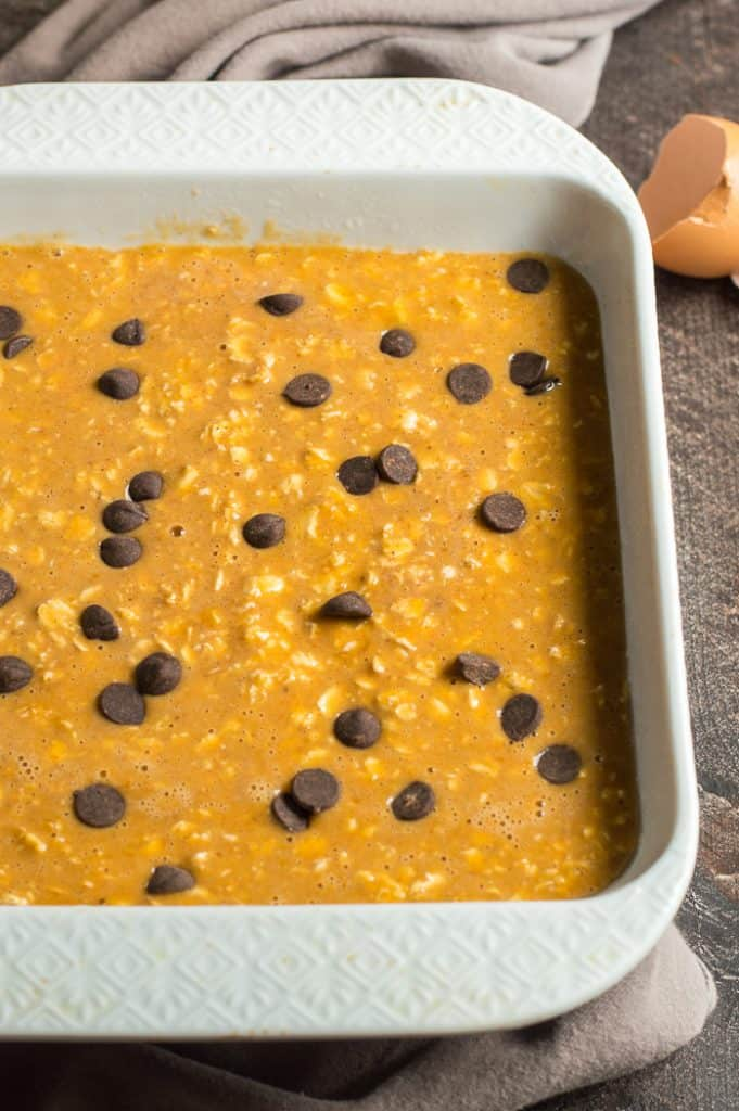Pumpkin baked oatmeal in the baking dish before being baked.