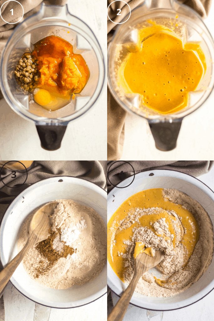 Process shots of how to make pumpkin protein muffins.