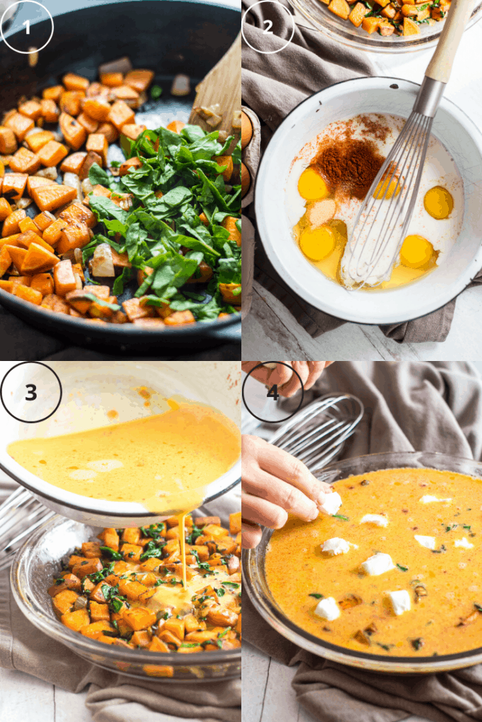 Process shot for how to make sweet potato quiche