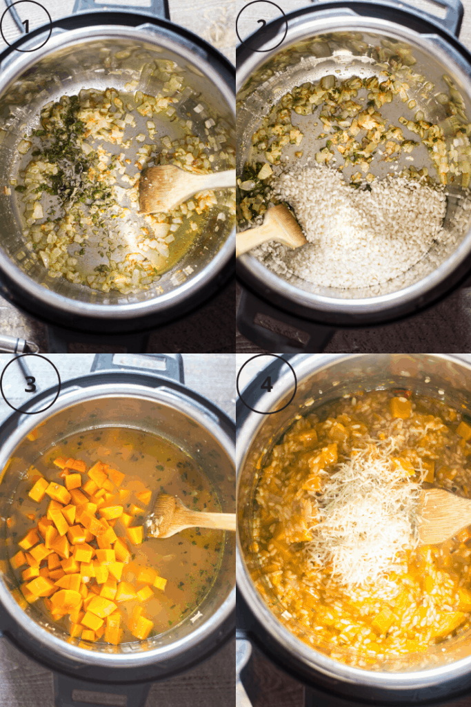 Process shots of how to make Instant Pot butternut squash risotto.