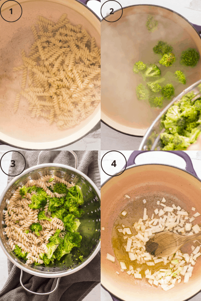 Process shots for how to make creamy broccoli pasta.