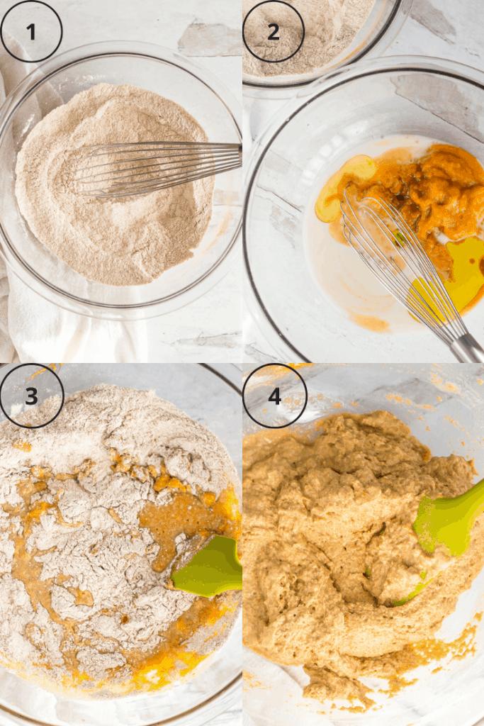 Process shots of how to make the batter for vegan pumpkin waffles.