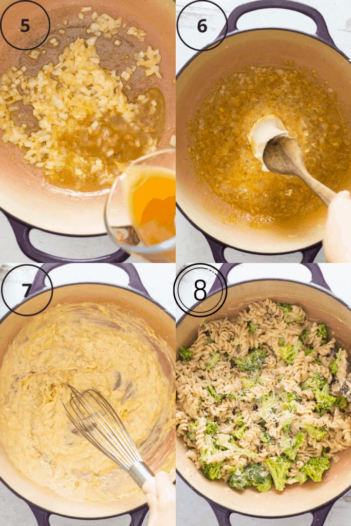 Process shots of how to make creamy broccoli pasta.