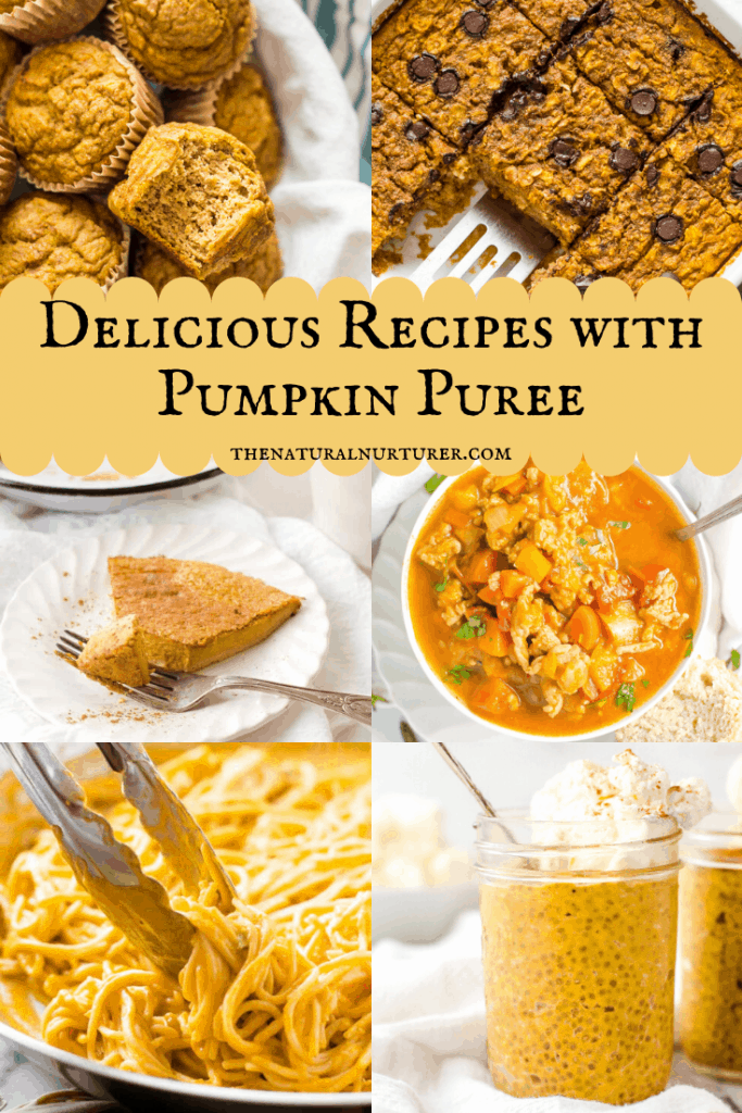 An image grid of recipes that can b made with pumpkin puree