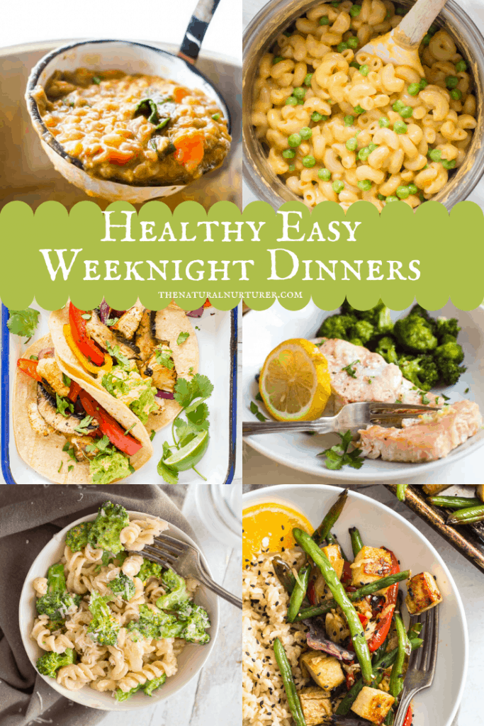 A photo collage of easy dinner recipes to make on a weeknight.