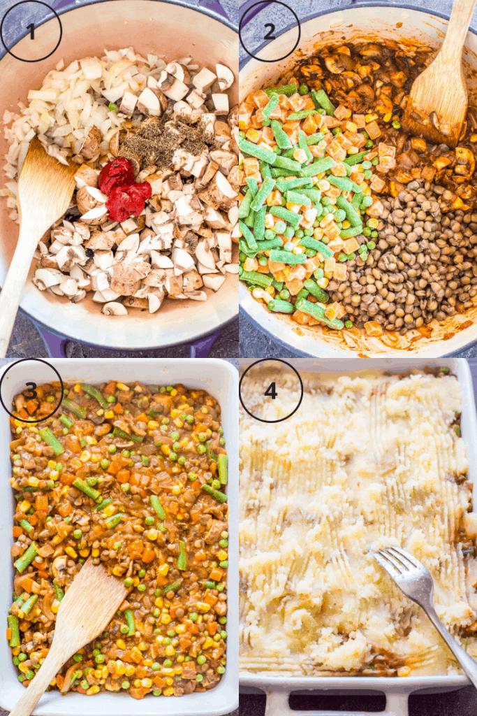Process shots of how to make vegan shepherd's pie.