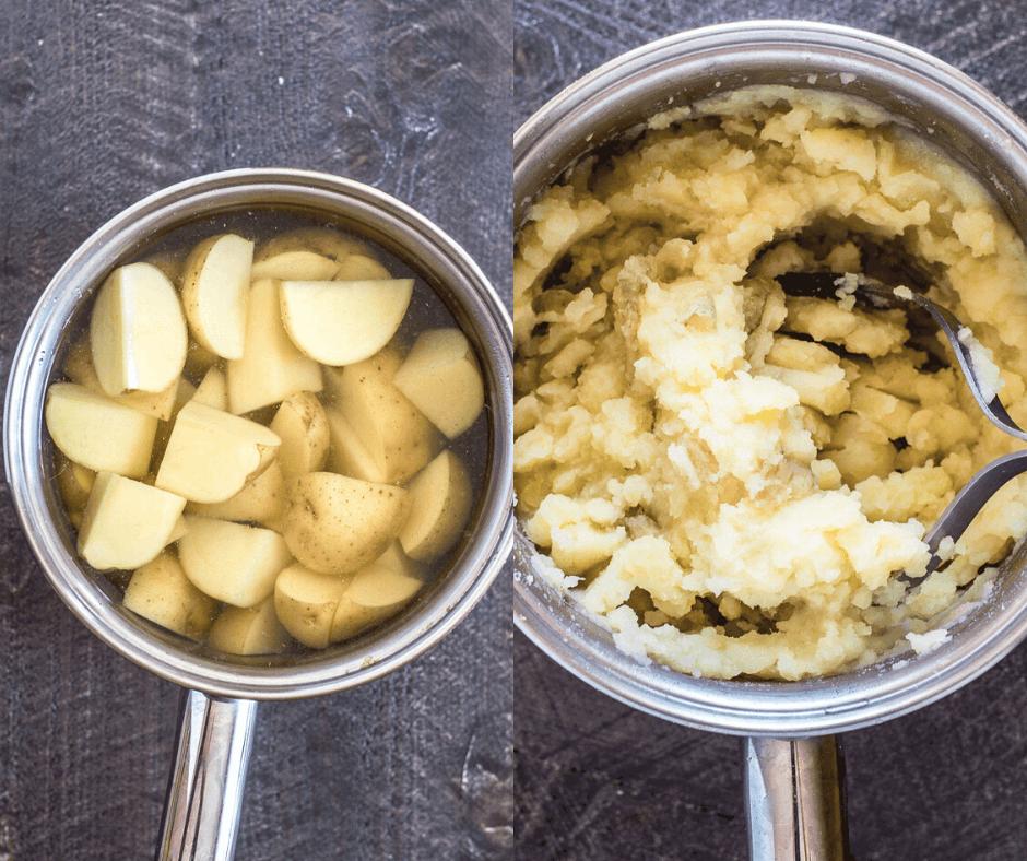 process shots of how to make the potatoes for vegan shepherd's pie.