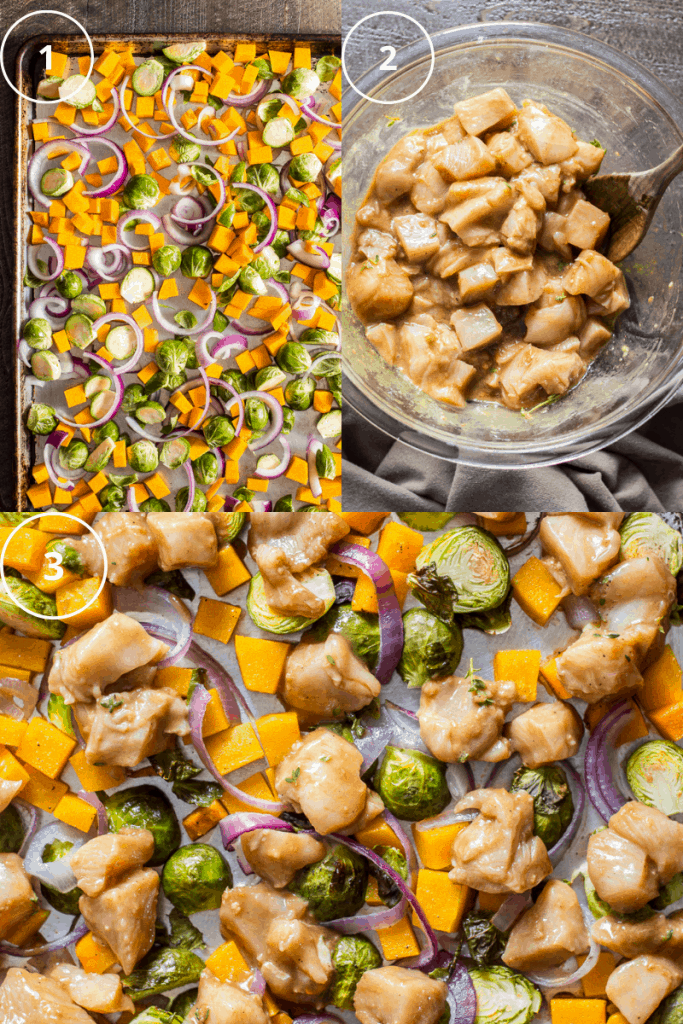 Process shot of how to make sheet pan chicken and butternut squash dinner.